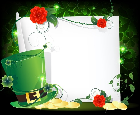Leprechaun hat with gold coins and a blank sheet of paper entwined with ivy  St Patrick s Day abstract background Иллюстрация