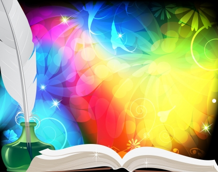 Magic book, feather and inkwell   Motley fairytale background  Vector