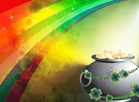 Pot of treasure on rainbow background  St  Patrick Illustration