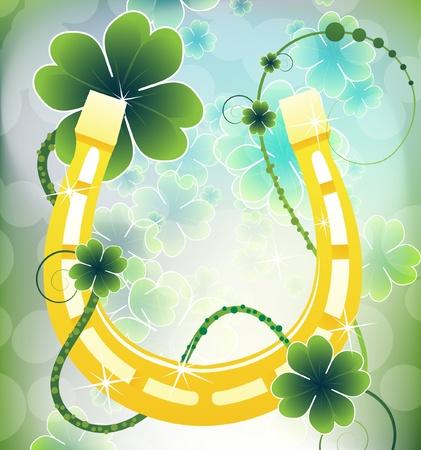Golden Horseshoe  St  Patrick s Day background  イラスト・ベクター素材