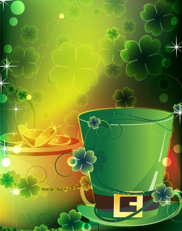 Leprechaun hat and a pot of gold on floral background  St  Patrick s greeting card