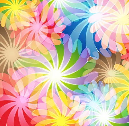 Bright transparent flowers  Abstract background  Иллюстрация