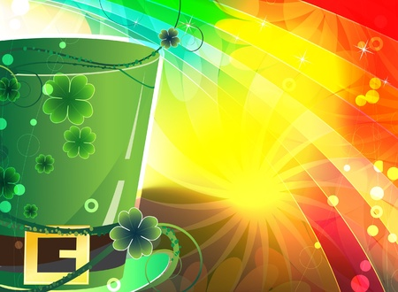 cilinder: Green leprechaun hat on an abstract rainbow background