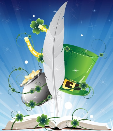 Fairy tales book  St  Patricks Day mystery Background  Vector