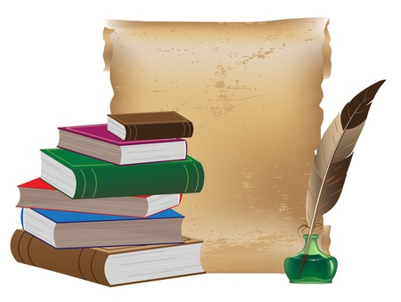 Pile of old books, ancient manuscript, inkwell and feather