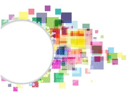 透明な色の正方形の散乱。抽象的な円形の境界線。