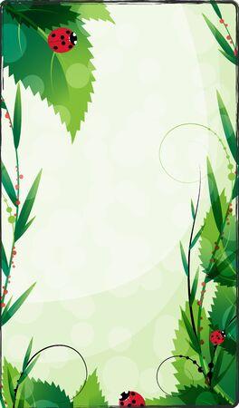 dense: Ladybirds creep on dense foliage Illustration