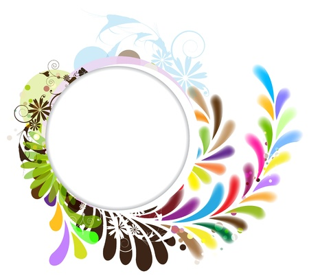 Round white background with a multi-colored tear-shaped pattern