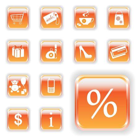Orange shopping buttons  Bright series royalty free stock illustration Stock Vector - 13946623