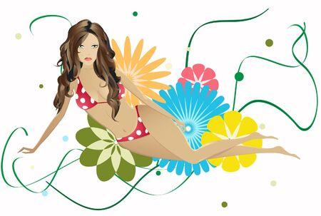 Ssunburnt brunette in a red bikini  on  a floral background. Stock Vector - 14258442