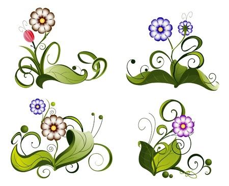 stencil flower: Bright floral pattern. Four icons set.