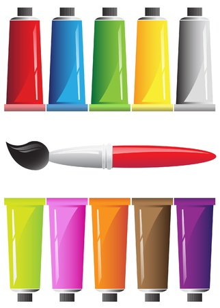 Ten tubes of paint and brush Vector
