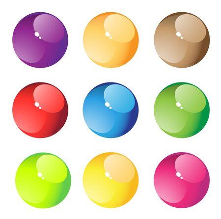 free stock: Nine round transparent aqua button  Bright series royalty free stock vector illustration