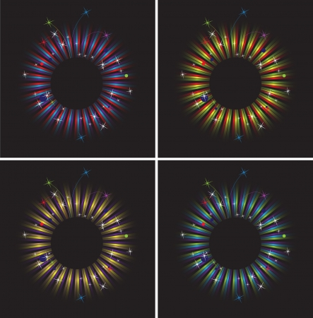 Four round frame with fireworks, stripes and confetti Stock Vector - 14366528