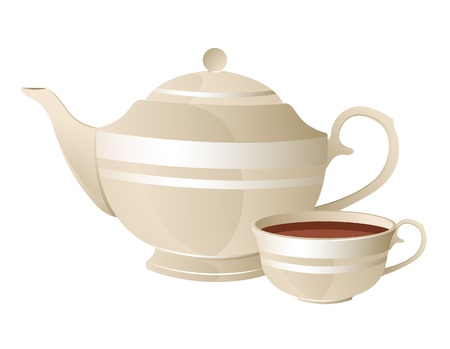 english breakfast: Teapot and cup of tea on a white background Illustration