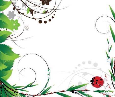 Green foliage and a little ladybug on a white background Vector