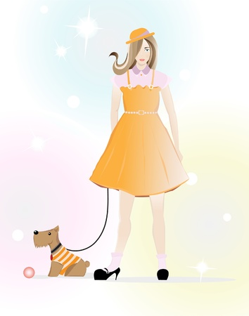 A girl in orange clothes goes for a walk with a dog  Bright illustration Vector