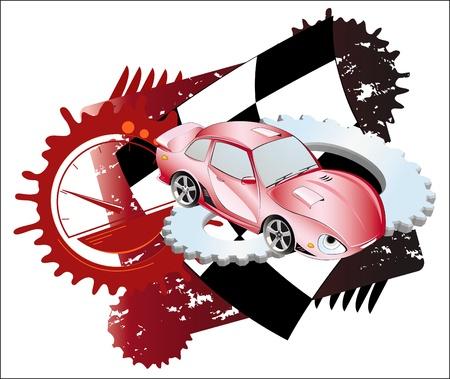 dodge:  Red sedan  Racing attributes  Sports theme  Background  Illustration