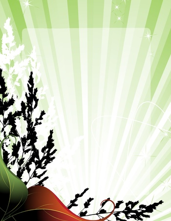 Vegetation pattern on  the rising sun  background   Stock Vector - 14537026