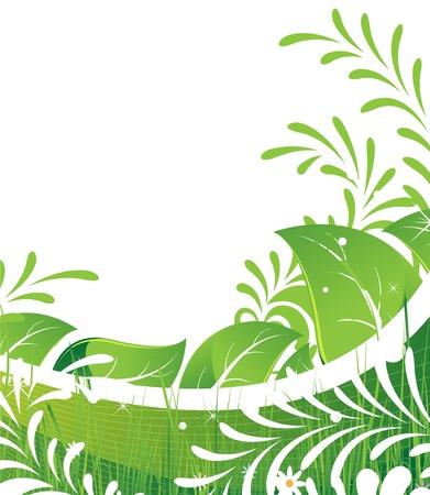 흰색 배경에 추상 단풍과 꽃