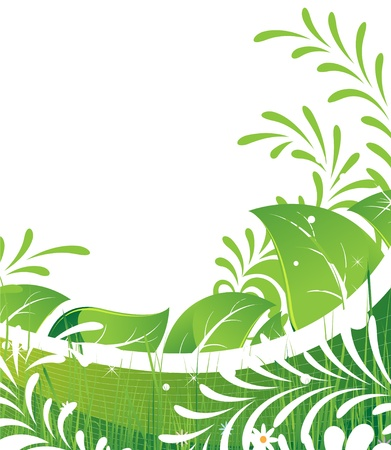 Abstract foliage and flowers on a white background