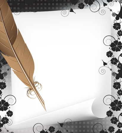 pluma de escribir antigua: L�piz y papel sobre un fondo floral oscuro