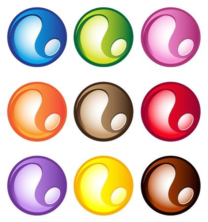 色付きのアクア ボタン セット  イラスト・ベクター素材