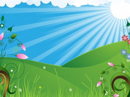 Bright flowers on a green meadow  Summer landscape Stock Vector - 14678693