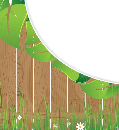 Lush foliage, wildflowers and wooden fence Stock Vector - 14678698