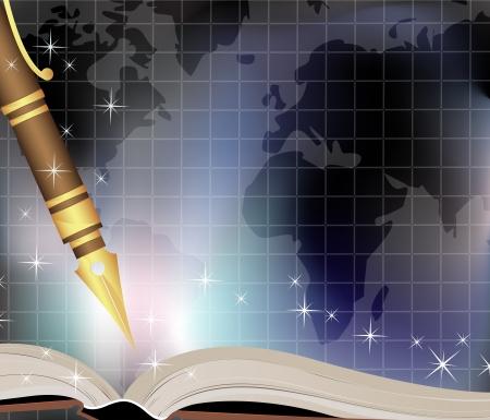 Notebook traveler on a map background  Иллюстрация