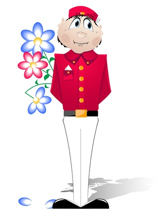 Doorman in a red uniform with flowers greets visitors  Vector