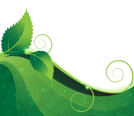 Green branch with two leaves on a wavy green background Vector