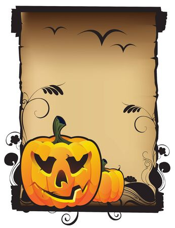 Laughing Jack o Lantern and old parchment Illustration