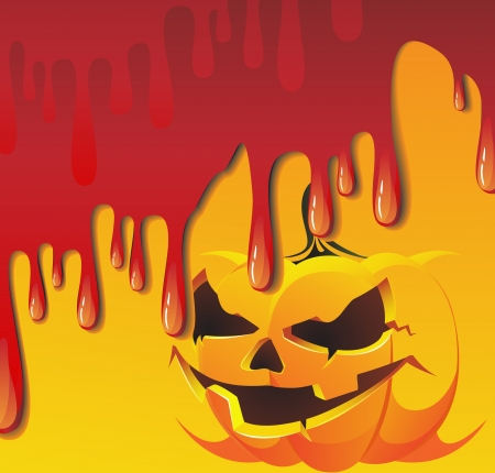Streaks of blood flood pumpkin monster Vector