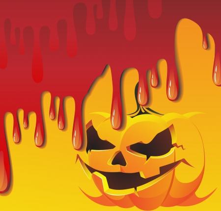 streaks: Streaks of blood flood pumpkin monster Illustration