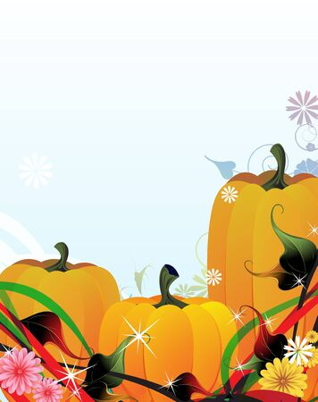 Three fabulous pumpkins on the sparkling floral background Vector