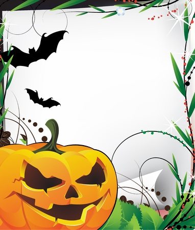 Bats, Jack O Lantern and  old sheet of paper Stock Vector - 14968756