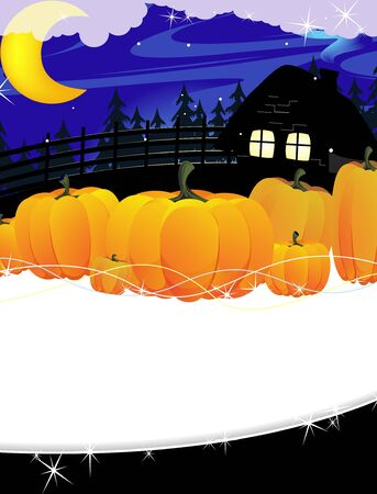 Ripe pumpkins near the forest lodge. Scary Halloween background Stock Vector - 14968725