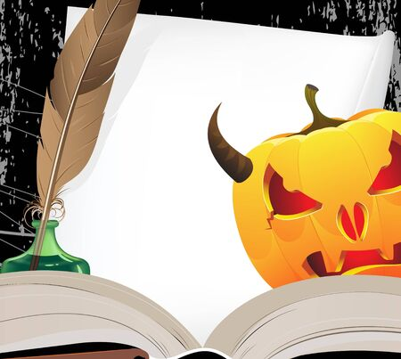 pumkin: Horned Jack o Lantern  looks out because of the open ancient book