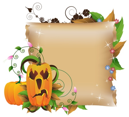 Jack O lantern on a background of flowers and ancient manuscript Stock Vector - 14968726