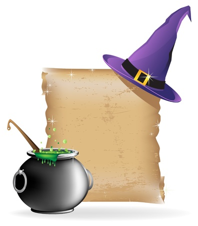 Witch hat, pot of boiling potion, and the ancient scroll on white background Stock Illustratie