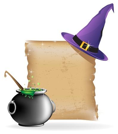 Sombrero de la bruja, olla de poción hirviendo, y el antiguo pergamino en el fondo blanco