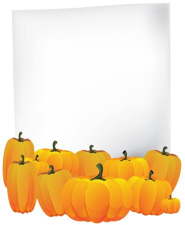 Blank sheet of paper and a pile of ripe pumpkins Stock Vector - 14968701