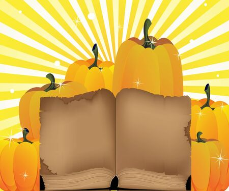 Ripe pumpkins and the ancient book on a shining background Stock Vector - 14968704