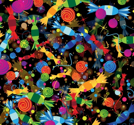Candies, confetti, color tinsel on a black background  Festive fireworks Vector