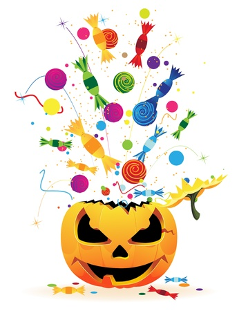 Fireworks with candy and confetti from the laughing pumpkin heads Vector