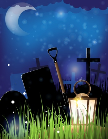 Glowing lantern and a shovel in the night cemetery  Scary Halloween background Stock Vector - 14968700