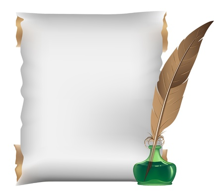 Ancient scroll, feather and inkwell on a white background Stock Vector - 15094968