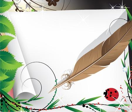 羽根ペンと紙のおとぎ話の明るい背景上