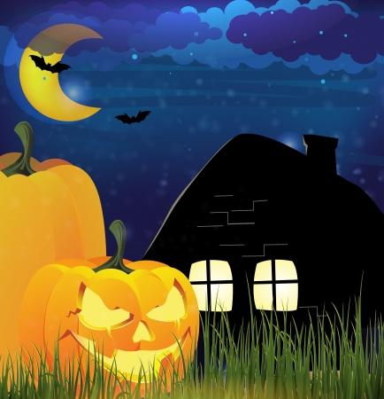 jack o: Jack o Lanterns near a lonely cottage  Moonlit  Halloween landscape Illustration